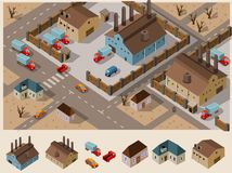 Área industrial isométrica Imagens de Stock Royalty Free