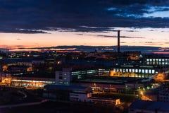 Área industrial na noite Imagem de Stock