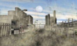 Área industrial surrealista Fotos de archivo libres de regalías