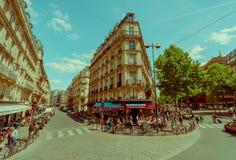 Área más quartier latina en París, Francia Imagen de archivo libre de regalías