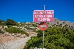 Área militar ninguna muestra de la entrada Fotos de archivo libres de regalías
