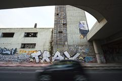 Área pobre e degradada em Piraeus - Grécia Imagens de Stock