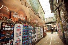 Área popular Friedrichshain del grunge con artes y clubs subterráneos Foto de archivo