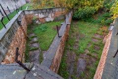 Área que camina, cárcel de Jilava del fuerte 13, Rumania Imagenes de archivo