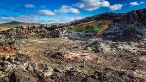 Área quente e ativa coberta pela lava, Islândia Fotos de Stock Royalty Free