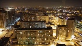 Área residencial de la ciudad en la noche, lapso de tiempo almacen de metraje de vídeo