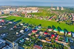 Área residencial sobre o fundo da planta da cidade Tyumen Foto de Stock