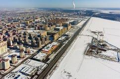 Área residencial sobre o fundo da planta da cidade Tyumen Fotos de Stock