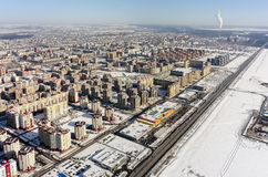 Área residencial sobre o fundo da planta da cidade Tyumen Imagem de Stock Royalty Free