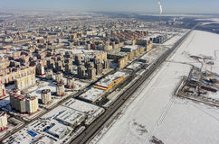 Área residencial sobre o fundo da planta da cidade Tyumen Fotografia de Stock Royalty Free