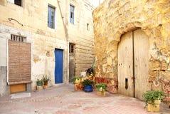 Área residencial velha do valetta malta fotografia de stock