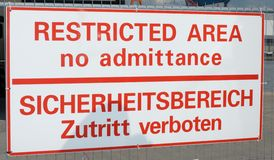 Área restricta Fotografía de archivo