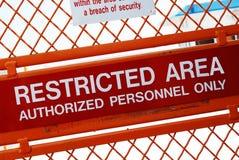 Área restricta Foto de archivo libre de regalías