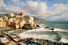 Área turística conocida como boccadasse en Génova Italia Fotografía de archivo libre de regalías
