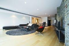 Área viva de lujo con muebles contemporáneos Imagen de archivo libre de regalías