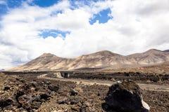 Área volcánica en Lanzarote Fotos de archivo libres de regalías