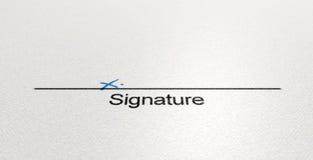 Área X da assinatura Fotografia de Stock Royalty Free