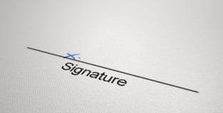 Área X da assinatura Imagem de Stock Royalty Free