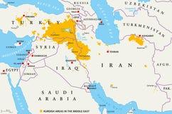Áreas curdos no Médio Oriente, mapa político ilustração royalty free