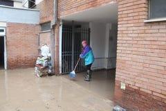 Áreas residenciales inundadas en Marina di Carrara Fotos de archivo libres de regalías