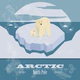 Ártico (Polo Norte) Imagen diseñada retra