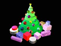 árvore 3D-Christmas com presentes Fotos de Stock Royalty Free