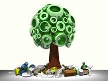 árvore 3D com lixo Fotografia de Stock Royalty Free