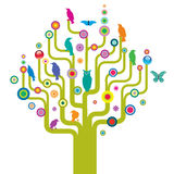 Árvore abstrata com animais selvagens ilustração royalty free