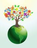 Árvore abstrata com flores ilustração stock