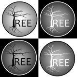 Árvore abstrata da inscrição isolada e contra um logotipo escuro do negócio do projeto do fundo Imagens de Stock