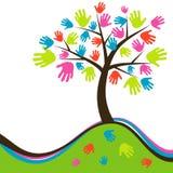 Árvore abstrata decorativa da mão, vetor Fotos de Stock Royalty Free
