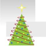 Árvore abstrata do Feliz Natal com festões vermelhas Imagem de Stock Royalty Free