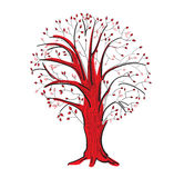 Árvore abstrata nas cores pretas e vermelhas Fotos de Stock Royalty Free