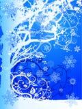Árvore & flocos de neve do inverno ilustração royalty free