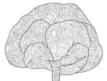 Árvore antistress adulta da coloração A ilustração de linhas pretas rabisca, o fundo branco ilustração stock