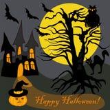 Árvore assombrada Dia das Bruxas Owl Bat Pumpkin Card da casa Imagem de Stock