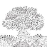 Árvore bonita abstrata para o elemento do projeto e a página do livro para colorir do adulto ilustração royalty free