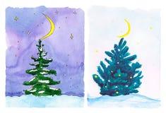 Árvore bonita na floresta do inverno - aquarela do ano novo Fotografia de Stock Royalty Free