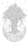 Árvore bonito do conto de fadas da floresta mágica Fotos de Stock Royalty Free