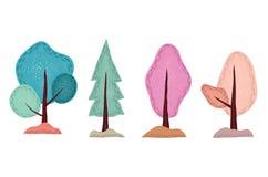Árvore bonito tirada mão, com testes padrões editáveis ilustração stock