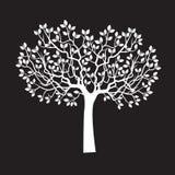 Árvore branca com folhas ilustração do vetor