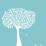 Árvore branca no fundo azul Imagem de Stock