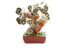 Árvore chinesa do dinheiro isolada no branco Fotografia de Stock Royalty Free