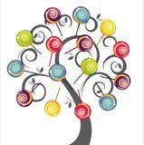 Árvore cinzenta com o lollipop delicioso colorido Imagem de Stock