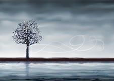 Árvore cinzenta sobre a água Imagens de Stock