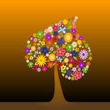 Árvore colorida com flores Imagem de Stock