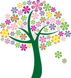 Árvore colorida das flores do vetor Foto de Stock Royalty Free