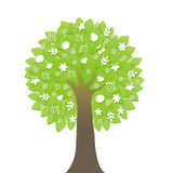Árvore com ícones Fotografia de Stock Royalty Free