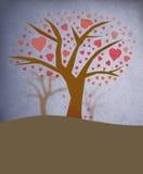 Árvore com as folhas dadas forma coração ilustração stock