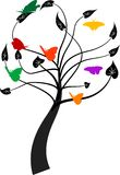Árvore com borboletas Fotos de Stock Royalty Free